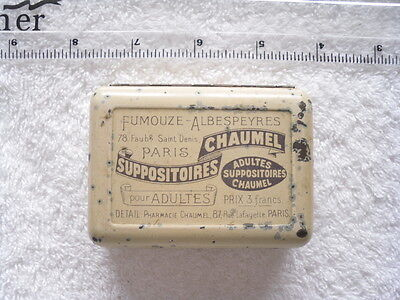 Chaumel Suppositoires - Vintage (1920's?) French Metal Medicine Tin Pill Box