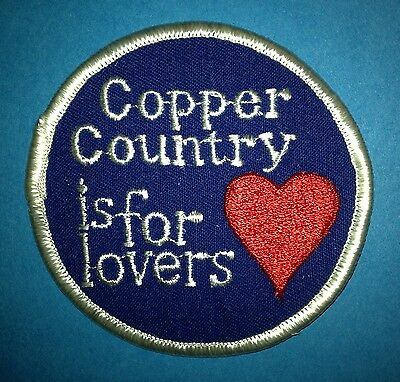 70's Michigan Copper Country Is For Lovers Trucker Hat Jacket Biker Travel Patch