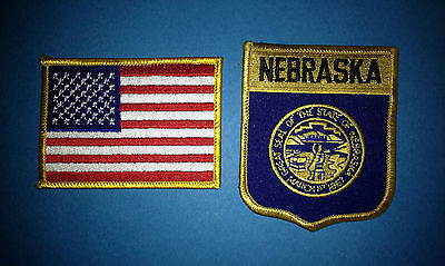 2 Lot Vintage  Nebraska USA Hat Jacket Hoodie Biker Vest Backpack Travel Patches