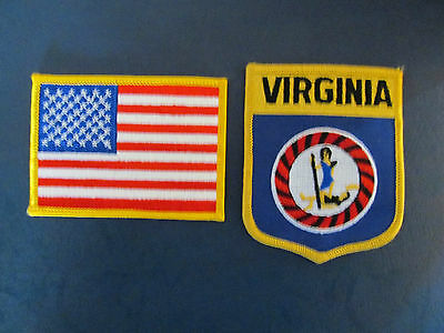 2 Lot Virginia & USA Patches Hat Jacket Hoodie Biker Vest Backpack Travel
