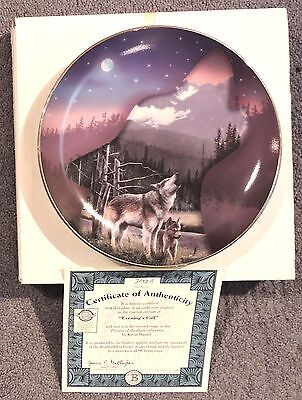 """Bradford Exchange Collector Plate - """"Evening's Call"""" Wolves"""