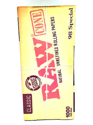 Raw Classic 98 Special Pre Rolled Cones - 1000 Count - 98mm - Unrefined - Tips