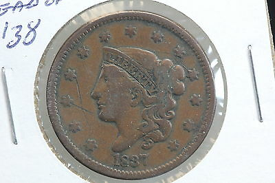 1837 Large Cent F Head of 1838