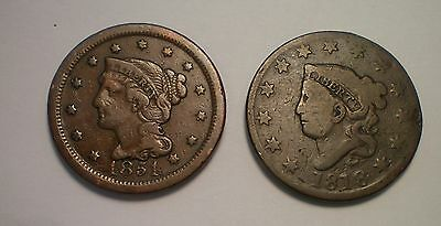 1818 And 1851 Large Cent