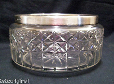 HENRY HOBSON CUT GLASS CENTER BOWL STIRLING SILVER COLLAR  ENGLAND c1933 STAMPED