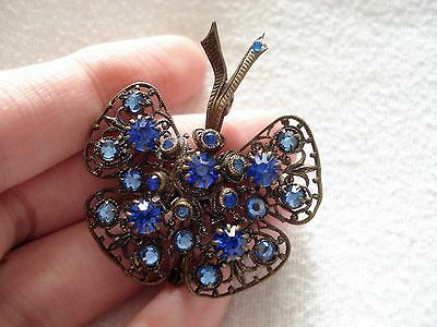Vintage Butterfly Blue Art Nouveau Czech Brooch Old Antique Insect Jewellery