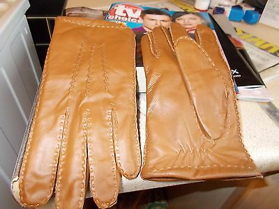 Ladies Brown  Soft Real Leather C@a Driving Gloves Med Size 8