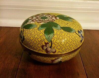 """Antique Cloisonne Enamel Yellow Box,1897-1921 made in """"China"""" Beautiful!"""