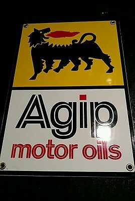 Agip Gasoline Motor Oil Gas Porcelain Advertising Sign