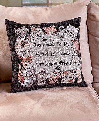 The Lakeside Collection Furry Friends Tapestry Pillow - Cat