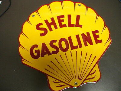 SHELL Oil Gas Porcelain Advertising Sign....DIECUT SHAPE