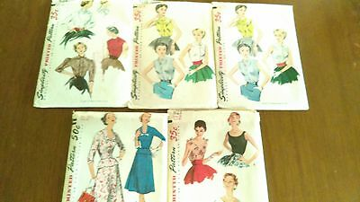 Vintage 1950s Simplicity Sewing Patterns - Lot 0f 5 - All But 1 Uncut