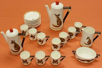 """Fab (27) Pc Royal Doulton 'Reynard The Fox' Demitasse Set"""