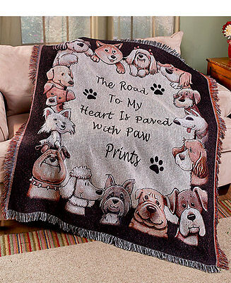 The Lakeside Collection Furry Friends Tapestry Throw - Dog