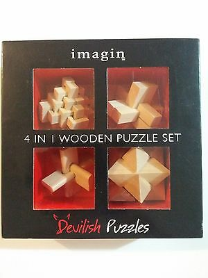 Devilish Puzzles - 4 In 1 Wooden Puzzle Set - NEW