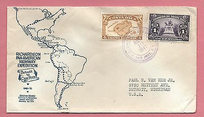 1941 Cover Costa Rica Richardson Pan American Highway Expedition To Usa