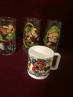 2 ViTG '86 Pizza Hut Collector Glasse Cartoon Character Barney Rubble Flintstone