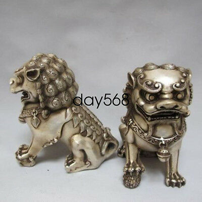 Rare Old Chinese handwork Tibet silver carved guard  Lion pair statues lj374