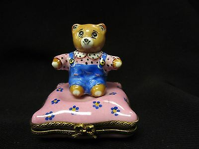 Limoges Porcelain Bear on Pillow Trinket Box