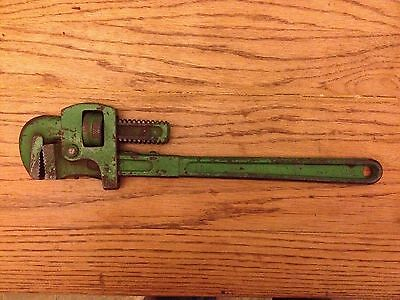 """VINTAGE FLEET 18"""" PIPE WRENCH 4118 PLUMBERS TOOL ADJUSTABLE WRENCH Green"""