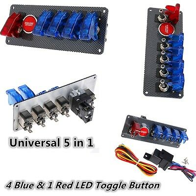 12V Ignition Switch Panel Engine Start Push Button LED Toggle for Racing Car New
