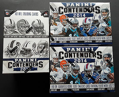3x NFL Panini Contenders 2014 Football 5-Pack Box Sealed Swatch Card + Car 50%
