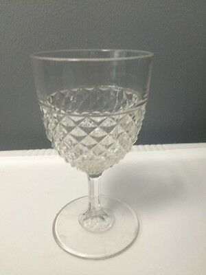 """EAPG Patterned Mold Pressed Glass Flint Saw Tooth Wine Water Goblet 6"""" Tall GUC"""