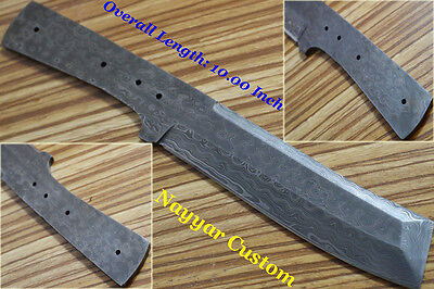 "10""custom made Damascus steel hunting blank blade for knife making supplies 2540"
