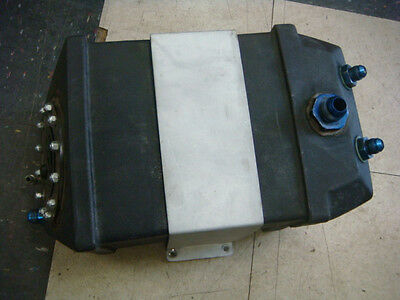 GOOD USED RACE CAR DRAGSTER FUEL CELL 3 gal W/ MOUNTING BRACKET AND FITTINGS
