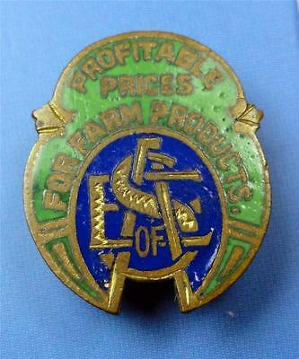 "Vintage Enamel Lapel Pin ""PROFITABLE PRICES for FARM PRODUCTS"" initials?  ME2869"