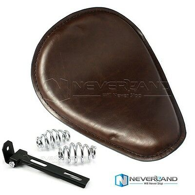 Brown Leather Solo Seat+Spring Bracket For Harley Sportster Touring Dyna Softail