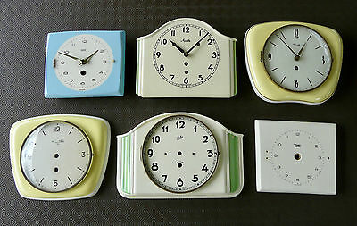 Lot of 6 Antique Vintage 1950s Ceramic Kitchen Wall Clocks - 3 with Movements