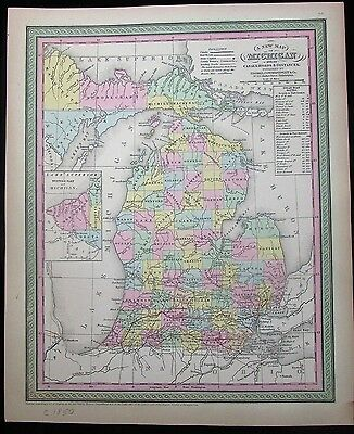 Michigan w/ Upper Peninsula inset steam boats 1850 Mitchell scarce antique map