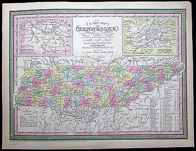 Tennessee w/ Knoxville Nashville insets 1850 Mitchell scarce antique map