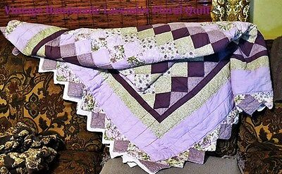 "Beautiful Vintage Handmade Quilt Diamond Pattern Purple Floral Large 106"" X 84"""