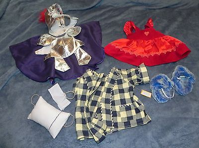 Lot 3 Vermont Teddy Bear Clothes Red Dress Bathrobe Set and Gladiator Outfits