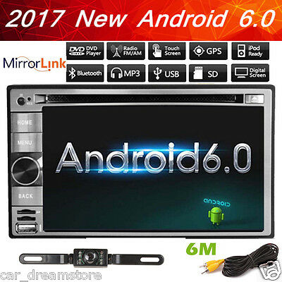 Android 6.0 Double Din Car DVD Stereo Radio GPS Navigation System Bluetooth+CAM