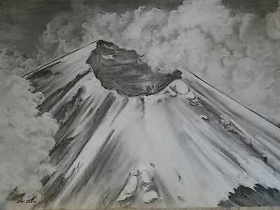Dr Atl   Gerardo Murillo   Charcoal On Paper    Signed   Volcano Erupting