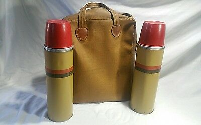 Vintage Thermos Set 2 Vacuum Bottle with Original Cork Stopper #B34QA, And Case