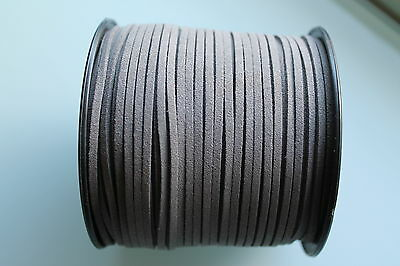 15.5 Meters Dark Grey Colour Suede Leather Cord