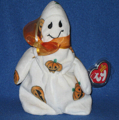 TY GHOULISH the HALLOWEEN GHOST BEANIE BABY - MINT TAGS
