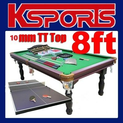 Pub Size Pool Table 8Ft Traditional Snooker Billiard Table  - With Table Tennis