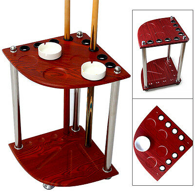 Corner Pool Billiards Wood Cue Rack Table Balls Rest Stick Holder w/ a ashtray