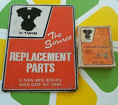 Vintage Harley Davidson V Twin 18x24 Sign & Teds Cycle Shed Replacment Parts