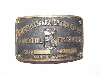 Melotte Seperator Sales Co Ltd  Makers Plate