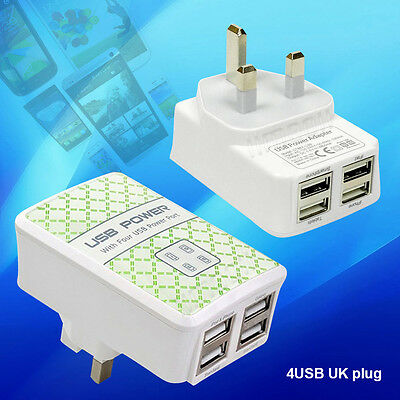 New 4 USB UK Mains Wall 3 Pin Plug Charger For iPhone 5 5S 6 Samsung HTC Phone