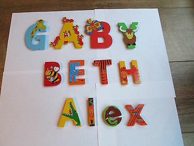 WOODEN ANIMAL LETTERS - For Bedroom Door or Wall - ALL 12 Letters