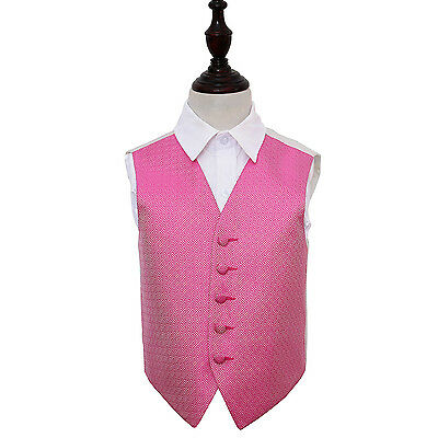 New Dqt Greek Key Boy's Wedding Waistcoat - Fuchsia Pink