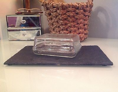 JAJ Pyrex England - Butter Dish Lidded Rectangle Clear glass Vintage RARE