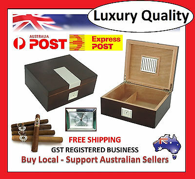 Hand Made - 25 Count Cigar Humidor Box Wood Venner Finish with Hygrometer T